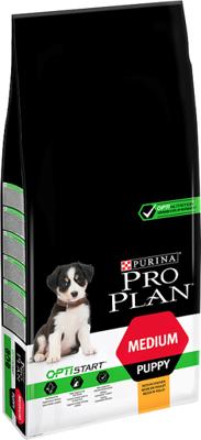 Purina Pro Plan Medium Puppy Optistart, viščiukas ir ryžiai 12kg