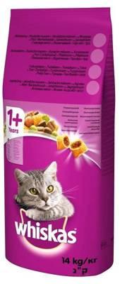 WHISKAS Adult 14kg - sausas kačių maistas su tunu ir daržovėmis