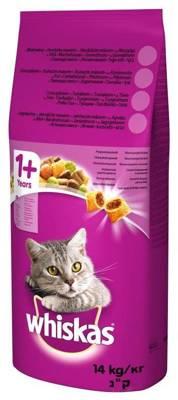 WHISKAS Adult 14kg - sausas kačių maistas su vištiena ir daržovėmis + 2x DREAMIES 15g